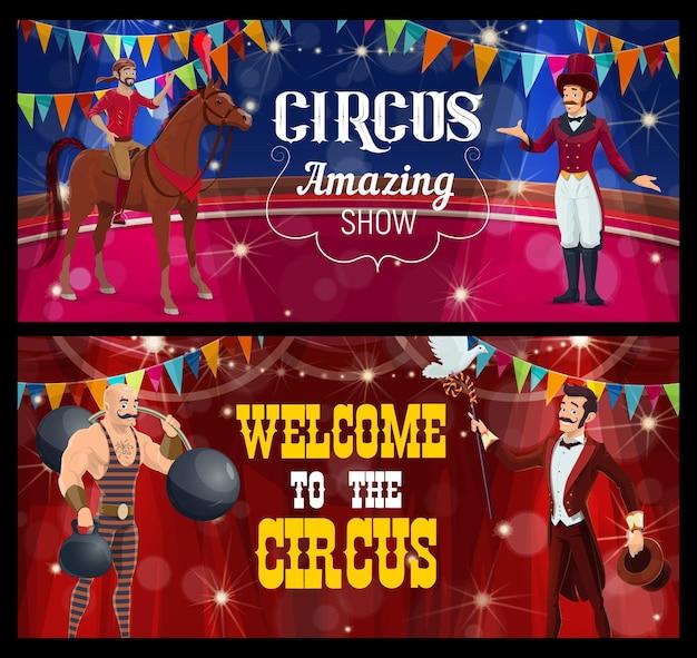 Palcoscenico del circo shapito con acrobata dei cartoni animati, mago, uomo forte