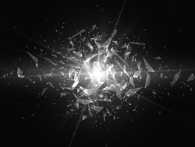 Frammenti di vetro rotto. esplosione astratta. sfondo