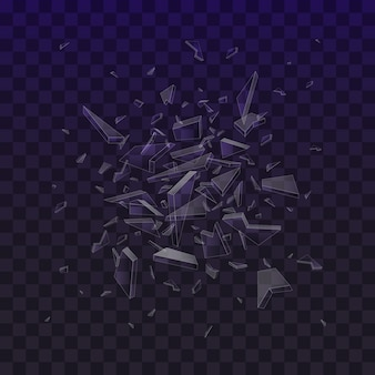Frammenti di vetro rotto. pezzi di vetro in frantumi isolati su fondo nero. esplosione astratta.