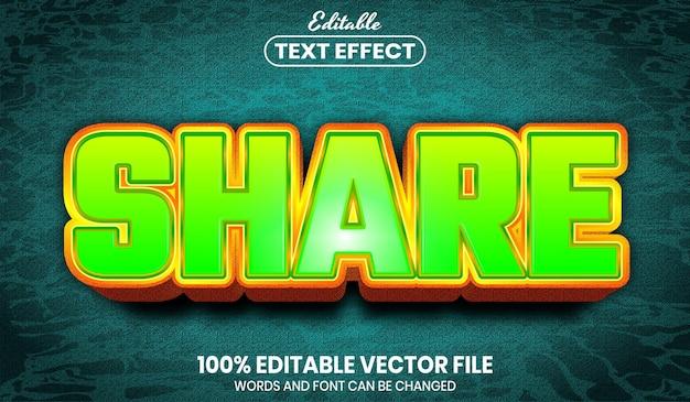 Condividi testo, effetto testo modificabile in stile carattere