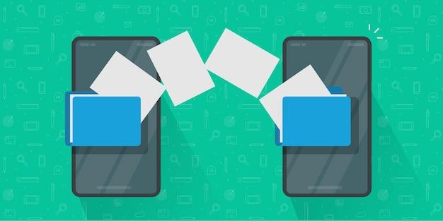 Condividi o trasferisci file tra il vettore di telefoni cellulari, idea di illustrazione di documenti di copia