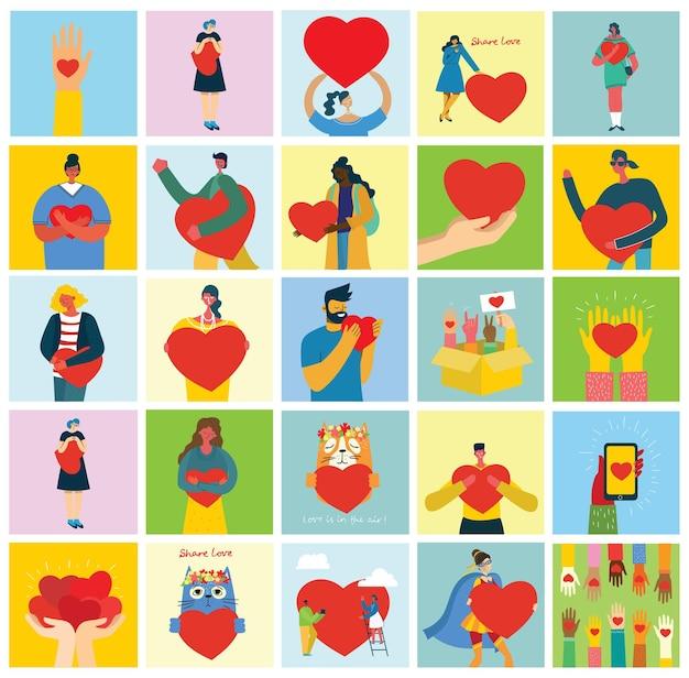 Condividi il tuo amore. mani e persone con il cuore come massaggi d'amore.