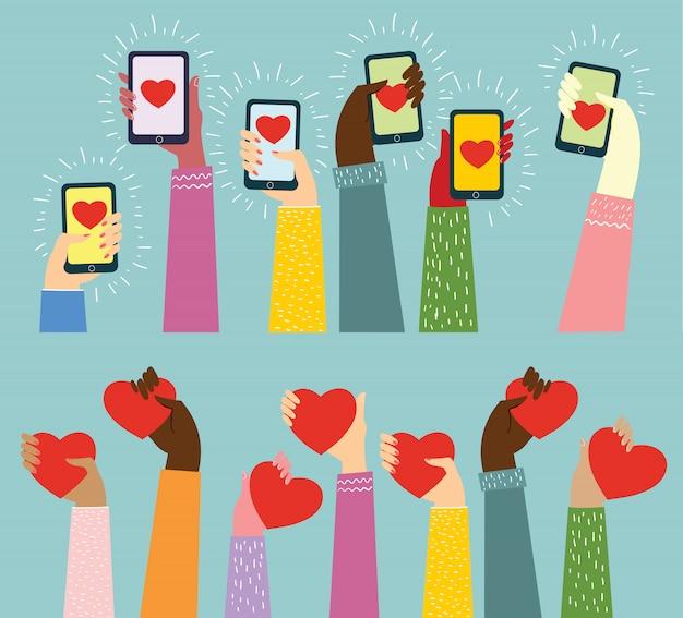 Condividi il tuo amore. mani con il cuore come massaggi d'amore. illustrazione per san valentino in stile piatto