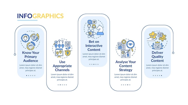 Modello di infografica vettoriale di tecniche di contenuto condivisibile. elementi di progettazione del profilo di presentazione dell'analisi. visualizzazione dei dati con 5 passaggi. grafico delle informazioni sulla sequenza temporale del processo. layout del flusso di lavoro con icone di linea
