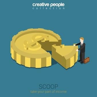 Azionista scoop business concept flat web 3d