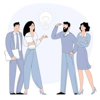 Condivisione di idee di business, collaborazione e lavoro di squadra