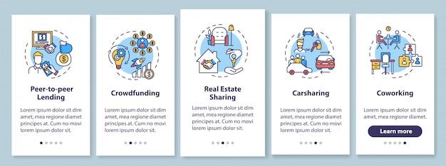 Condivisione dell'economia nella schermata della pagina dell'app per dispositivi mobili con concetti. modelli di business collaborativi con istruzioni grafiche in cinque passaggi. modello di interfaccia utente con illustrazioni a colori rgb