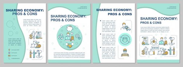 Modello di brochure per pro e contro della condivisione dell'economia