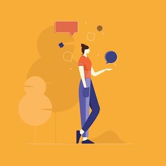 Condivisione di pensieri, condivisione di idee, fumetto, icona di chat, bolla di testo, fumetto, chat online, conversazione, comunicazione, illustrazioni di bolle di chat
