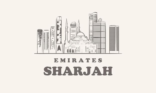 Skyline di sharjah, illustrazione disegnata a mano di emirati Vettore Premium