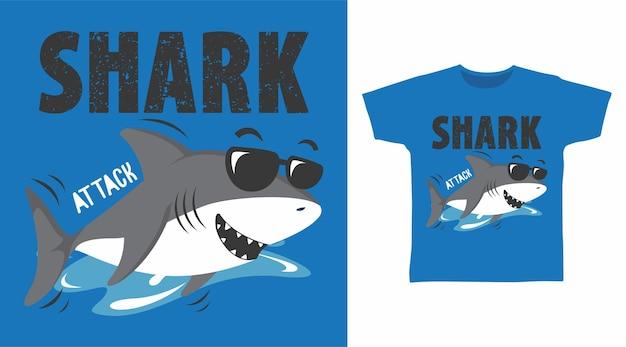Design della maglietta di attacco di squalo