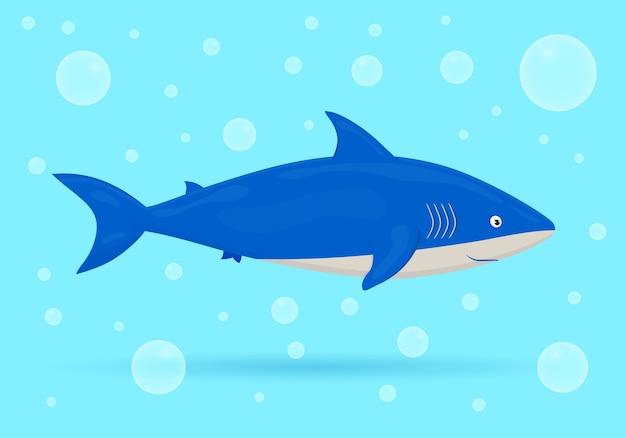 Squalo su sfondo blu con bolle. pesce dell'oceano. vita selvaggia marina subacquea. illustrazione.