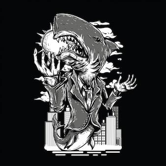 Illustrazione in bianco e nero della città dello squalo
