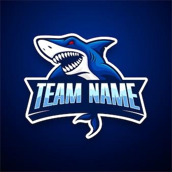 Modello di logo di squalo e-sport