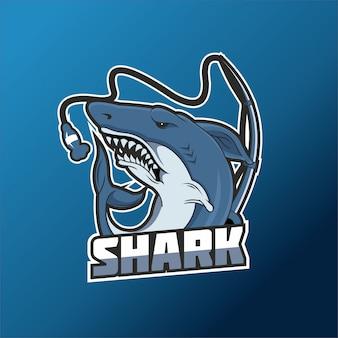 Logo di squalo e sport