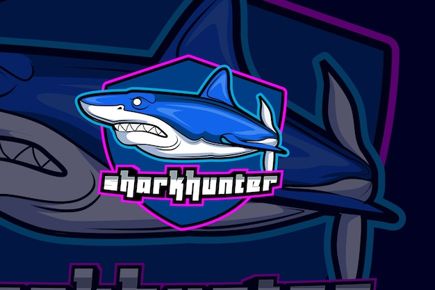 Modello di logo della squadra di squalo e sport