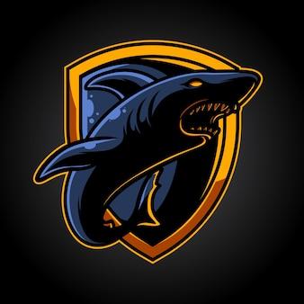 Emblema dello squalo e logo mascotte sportivo