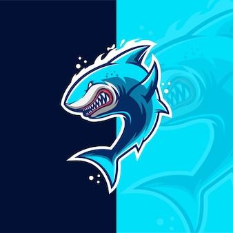 Modello di logo della mascotte di gioco di squalo esport