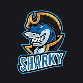 Modello di logo di squalo esport