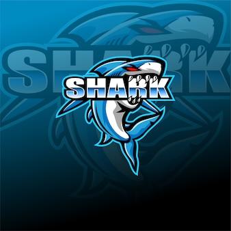 Modello di logo mascotte esport squalo