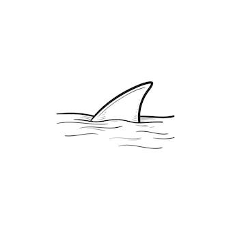 Pinna di squalo sull'icona di doodle di contorni disegnati a mano di acqua oceano e natura, fauna sottomarina, concetto pericoloso