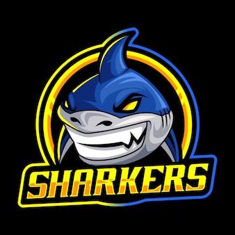 Modello di logo mascotte squalo