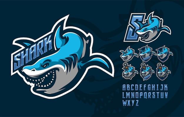 Modello di logo mascotte premium squalo