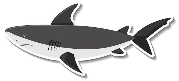 Un adesivo cartone animato animale marino squalo