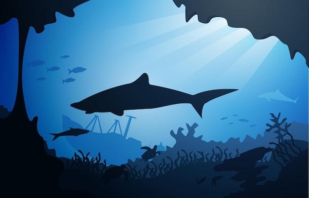 Squalo nave affondata fauna selvatica animali marini illustrazione acquatica subacquea