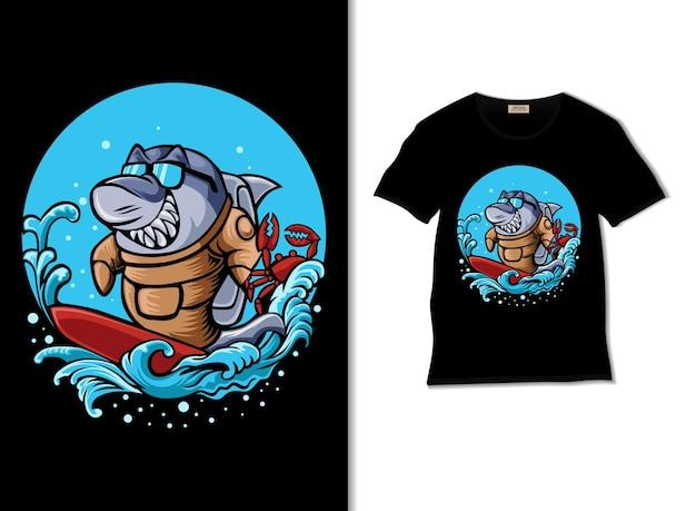 Illustrazione di squalo che fa surf con il design della maglietta