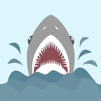 Squalo con mascelle aperte e denti aguzzi. illustrazione vettoriale in stile cartone animato piatto.