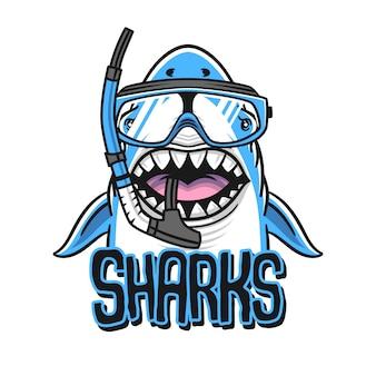 Squalo con la bocca aperta. isolamento dello squalo su uno sfondo bianco