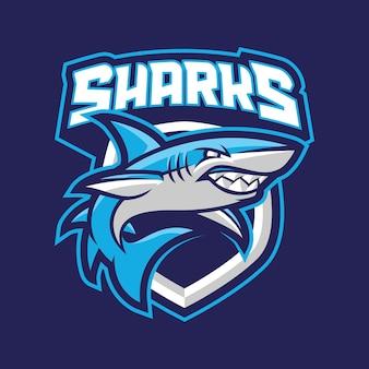 Concetto di ogo mascotte degli squali