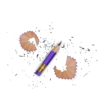Matita appuntita con una gomma, trucioli di matita e una grafite isolata