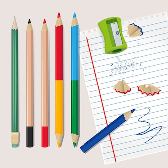 Temperamatite e detriti di legno dalle matite. illustrazioni per la scuola o l'ufficio. temperamatite e matita colorata