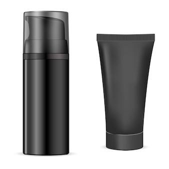 Bottiglia da barba. gel cosmetico al carbone, idratazione del corpo