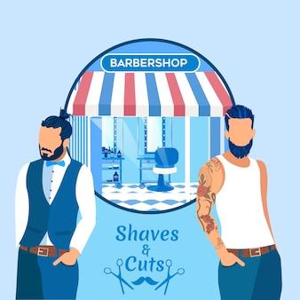 Banner di barba e tagli con uomini cool hipster.