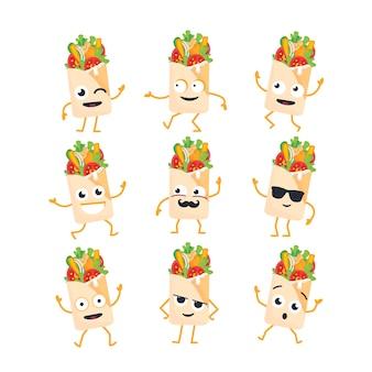 Personaggio dei cartoni animati di shawarma - set di modelli vettoriali moderni di illustrazioni di mascotte. immagini regalo di shawarma, ballare, sorridere, divertirsi. emoticon, felicità, emozioni, coolness, bacio, sorpresa