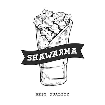 Emblema retrò shawarma. modello di logo. bianco e nero. schizzo di shawarma. illustrazione vettoriale eps10.