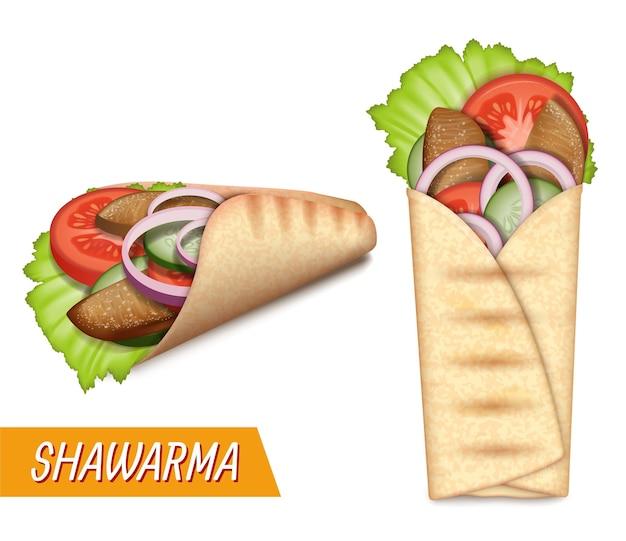 Shawarma set rotolo di pane pita realistico fast food turco da asporto con insalata di carne di manzo pollo