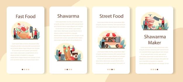 Set di modelli di applicazione mobile shawarma street food. cuoco unico che cucina delizioso rotolo con carne, insalata e pomodoro. caffè fast food kebab.