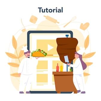Servizio o piattaforma online di cibo di strada shawarma