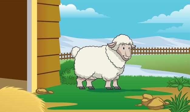 Pecore nella stalla con copia in stile cartone animato