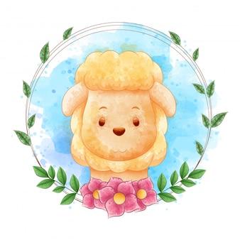 Cartoni animati di pecore con cornici floreali