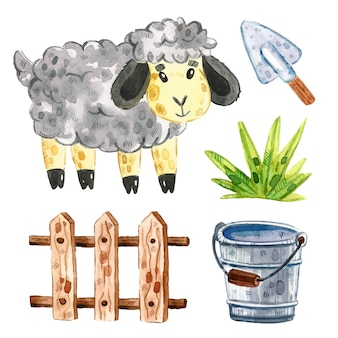 Pecore, staccionata in legno per bovini, erba, secchio, pala. clipart di animali da fattoria, insieme di elementi. illustrazione dell'acquerello.