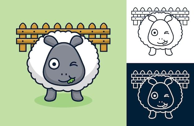 Pecore che mangiano erba sul fondo del recinto. illustrazione di cartone animato in stile piatto