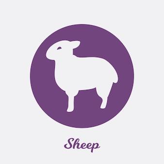 Disegno dell'icona piatto di pecora, elemento simbolo del logo