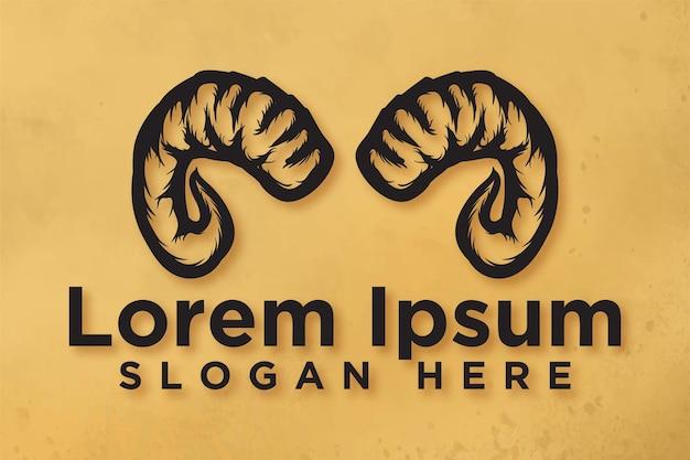 Corno di capra di pecora, design del logo ram, illustrazione vettoriale