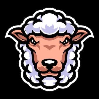 Modello di logo mascotte testa di pecora Vettore Premium