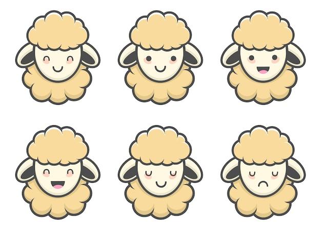Elemento carino pecore kawaii